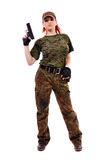 Military redhead beautiful young lady Stock Photo