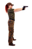 Military redhead beautiful young lady Stock Photos