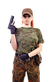 Military redhead beautiful young lady Royalty Free Stock Photography