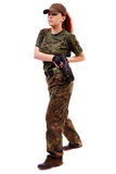 Military redhead beautiful young lady Stock Image