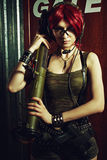 Military redhead girl Stock Images