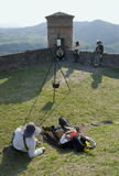 Military reenactment. At fortress of Gavi,Italy (September 2009).Mercenary uniform, 17th century Stock Images