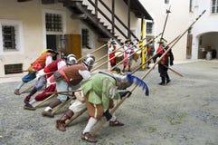 Military reenactment. At fortress of Gavi,Italy (September 2009).Mercenary uniform, 17th century Royalty Free Stock Photography