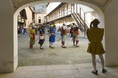Military reenactment. At fortress of Gavi,Italy (September 2009).Mercenary uniform, 17th century Stock Photos