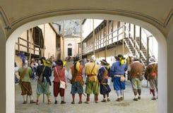 Military reenactment. At fortress of Gavi,Italy (September 2009).Mercenary uniform, 17th century Stock Photo