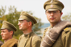 Military reenactors in uniforms of a World War II Royalty Free Stock Images