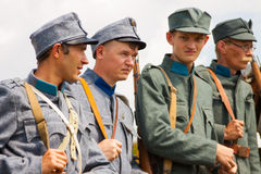 Military reenactors in uniforms of a World War II Royalty Free Stock Photos