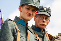 Military reenactors in uniforms of a World War II Stock Image