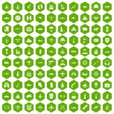 100 military resources icons hexagon green. 100 military resources icons set in green hexagon isolated vector illustration Royalty Free Stock Photo