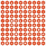 100 military resources icons hexagon orange Stock Photos