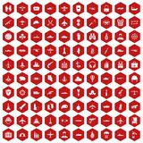 100 military resources icons hexagon red. 100 military resources icons set in red hexagon isolated vector illustration Stock Photo