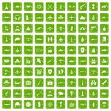 100 military resources icons set grunge green. 100 military resources icons set in grunge style green color isolated on white background vector illustration Stock Images