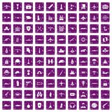 100 military resources icons set grunge purple. 100 military resources icons set in grunge style purple color isolated on white background vector illustration Royalty Free Stock Photo