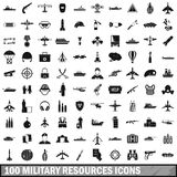 100 military resources icons set, simple style. 100 military resources icons set in simple style for any design vector illustration Stock Illustration