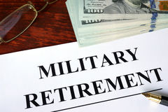Military retirement written on a paper. Financial concept Stock Photography
