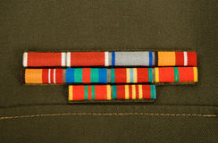 Military ribbons. Russian military awards and decorations on a green uniform Stock Image