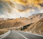 Military road in Georgia. Asphalt military road in Georgia royalty free stock photos