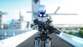 Military robot with gun walking. Futuristic city, town. Realistic 4K animation. Military robot with gun walking. Futuristic city, town. Realistic 4K animation vector illustration
