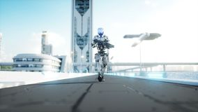 Military robot with gun walking. Futuristic city, town. Realistic 4K animation.