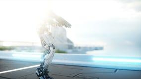Military robot with gun walking. Futuristic city, town. Realistic 4K animation. Military robot with gun walking. Futuristic city, town. Realistic 4K animation royalty free illustration