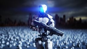 Military robot and skulls of people. Dramatic apocalypse super realistic concept. Rise of the Machines. Dark future. 3d. Rendering stock illustration