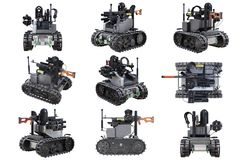 Military robot tank set. Military robot bulletproof radio tank set. 3D rendering Stock Photography