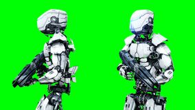 Military robot is walking with gun . Realistic motion and reflections. 4K green screen footage. Military robot is walking with gun . Realistic motion and stock footage