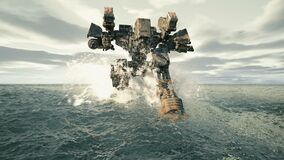 A military robot walks on a surface covered with water. The concept of the future Apocalypse. Animation for military