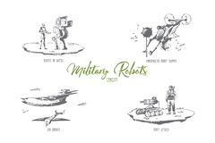 Military robots - robots in battle, underwater sapper, roket attack, air drones vector concept set. Hand drawn sketch isolated illustration royalty free illustration