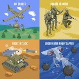 Military Robots 2x2 Design Concept vector illustration
