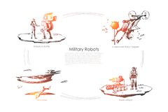 Military robots - robots in battle, underwater sapper, roket attack, air drones vector concept set. Hand drawn sketch isolated illustration vector illustration
