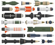 Military rocket weapon. Ballistic weapons, nuclear, aerial bombs, cruise missiles and depth charges vector illustration