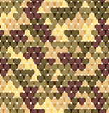 Military romantic seamless pattern of heart khaki Stock Photos