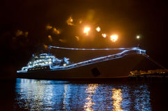 Military Russian ship and salute Royalty Free Stock Photo