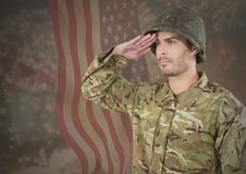 Military saluting against american flag. Digital composite of Military saluting against american flag Stock Photo