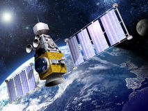 Military Satellite in Orbit royalty free illustration