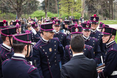 Military school cadets in the oath ceremony Stock Images