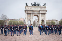 Military school cadets in the oath ceremony Royalty Free Stock Image