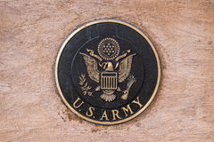 Military seal us army. United states us army military seal set in stone located in a memorial park Stock Photo