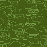 Military seamless pattern. Ship and tank. Auto and aircraft. Arm Royalty Free Stock Photography