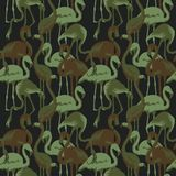 Military Seamless Pattern with Tropical Birds Flamingo. Camouflage Background. Camo Fashion Texture. Army Uniform Royalty Free Stock Photos