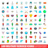 100 military service icons set, cartoon style. 100 military service icons set in cartoon style for any design vector illustration Stock Photography