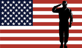 Military serviceman and flag. Vector art of a US serviceman with flag in the background Royalty Free Stock Photography