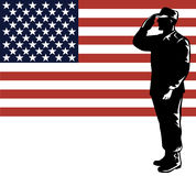 Military serviceman and flag royalty free stock photo