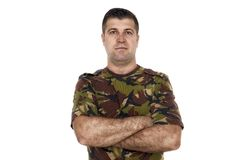 Military serviceman with his arms crossed Royalty Free Stock Photos