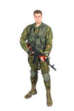Military serviceman with rifle on white Stock Photography