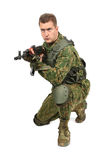 Military serviceman with rifle on white Royalty Free Stock Image