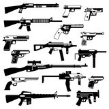 Military set of automatic guns, pistols and other weapons. Monochrome illustrations isolate. Automatic gun and rifle black white style Royalty Free Stock Photography