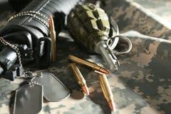 Military set on clothing. Military set on camouflage clothing Royalty Free Stock Image