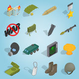 Military set icons, isometric 3d style Stock Photo